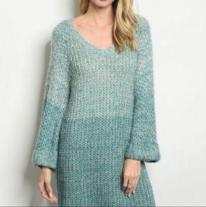 Teal Blue Puff Longsleeve Sweater V Neck Dress